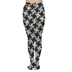Houndstooth2 Black Marble & Silver Foil Women s Tights by trendistuff
