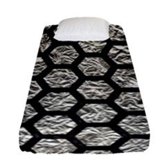 Hexagon2 Black Marble & Silver Foil Fitted Sheet (single Size) by trendistuff