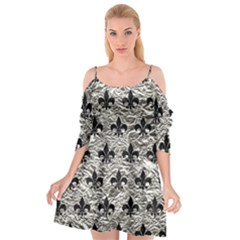 Royal1 Black Marble & Silver Foil (r) Cutout Spaghetti Strap Chiffon Dress