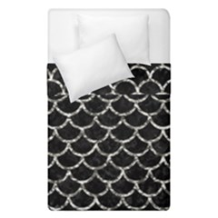 Scales1 Black Marble & Silver Foil (r) Duvet Cover Double Side (single Size) by trendistuff