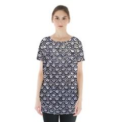 Scales2 Black Marble & Silver Foil Skirt Hem Sports Top by trendistuff