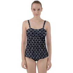 Scales2 Black Marble & Silver Foil (r) Twist Front Tankini Set