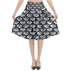 Scales3 Black Marble & Silver Foil Flared Midi Skirt
