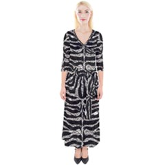 Skin2 Black Marble & Silver Foil (r) Quarter Sleeve Wrap Maxi Dress