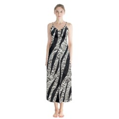 Skin3 Black Marble & Silver Foil Button Up Chiffon Maxi Dress