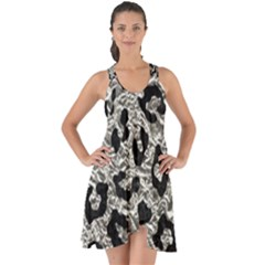 Skin5 Black Marble & Silver Foil (r) Show Some Back Chiffon Dress by trendistuff