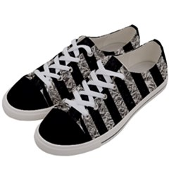 Stripes1 Black Marble & Silver Foil Women s Low Top Canvas Sneakers by trendistuff