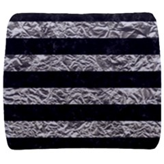 Stripes2 Black Marble & Silver Foil Back Support Cushion by trendistuff