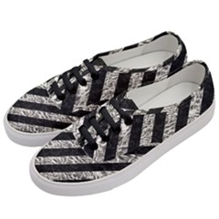 Stripes3 Black Marble & Silver Foil (r) Women s Classic Low Top Sneakers by trendistuff