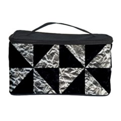 Triangle1 Black Marble & Silver Foil Cosmetic Storage Case by trendistuff