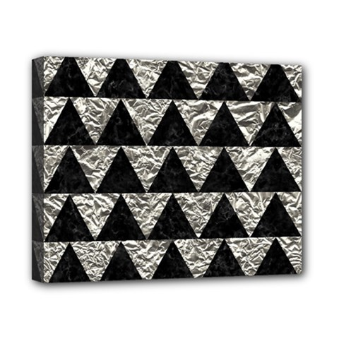 Triangle2 Black Marble & Silver Foil Canvas 10  X 8  by trendistuff