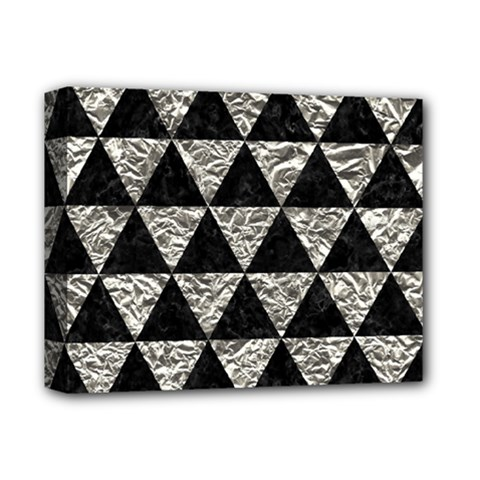 Triangle3 Black Marble & Silver Foil Deluxe Canvas 14  X 11  by trendistuff