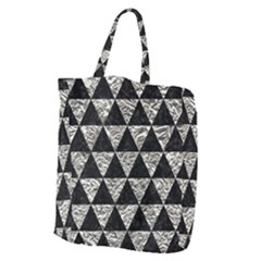 Triangle3 Black Marble & Silver Foil Giant Grocery Zipper Tote by trendistuff