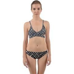 Woven2 Black Marble & Silver Foil Wrap Around Bikini Set