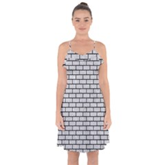 Brick1 Black Marble & Silver Glitter Ruffle Detail Chiffon Dress by trendistuff