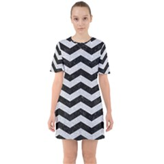 Chevron3 Black Marble & Silver Glitter Sixties Short Sleeve Mini Dress