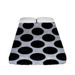 Circles2 Black Marble & Silver Glitter Fitted Sheet (full/ Double Size)