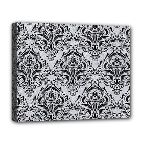 Damask1 Black Marble & Silver Glitter Deluxe Canvas 20  X 16   by trendistuff