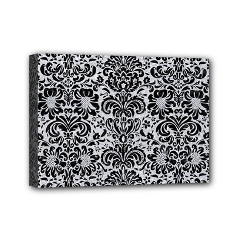 Damask2 Black Marble & Silver Glitter Mini Canvas 7  X 5  by trendistuff