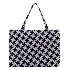 Houndstooth2 Black Marble & Silver Glitter Medium Tote Bag by trendistuff