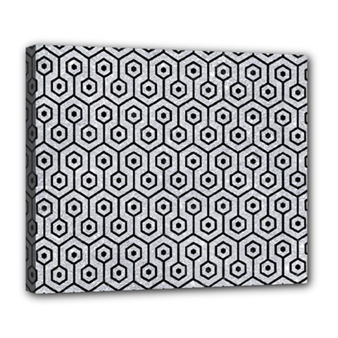 Hexagon1 Black Marble & Silver Glitter Deluxe Canvas 24  X 20   by trendistuff