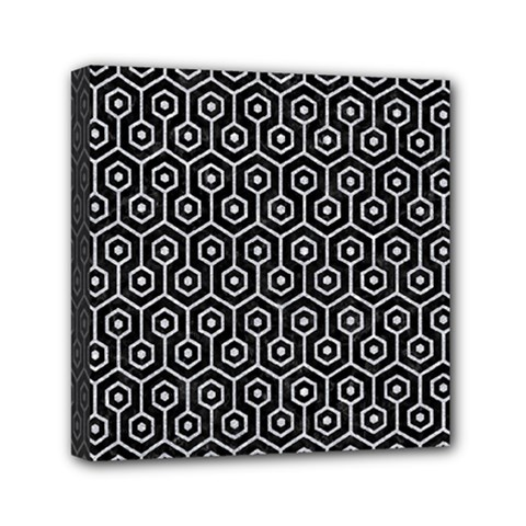 Hexagon1 Black Marble & Silver Glitter (r) Mini Canvas 6  X 6  by trendistuff