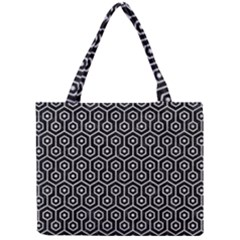 Hexagon1 Black Marble & Silver Glitter (r) Mini Tote Bag by trendistuff