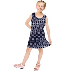 Hexagon1 Black Marble & Silver Glitter (r) Kids  Tunic Dress