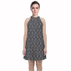 Hexagon1 Black Marble & Silver Glitter (r) Velvet Halter Neckline Dress  by trendistuff