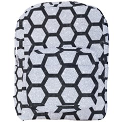 Hexagon2 Black Marble & Silver Glitter Full Print Backpack by trendistuff