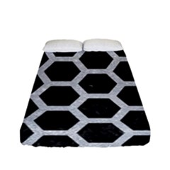 Hexagon2 Black Marble & Silver Glitter (r) Fitted Sheet (full/ Double Size) by trendistuff