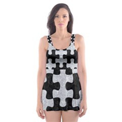 Puzzle1 Black Marble & Silver Glitter Skater Dress Swimsuit