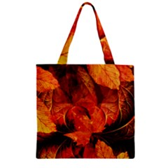 Ablaze With Beautiful Fractal Fall Colors Zipper Grocery Tote Bag by jayaprime