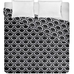 Scales2 Black Marble & Silver Glitter (r) Duvet Cover Double Side (king Size) by trendistuff