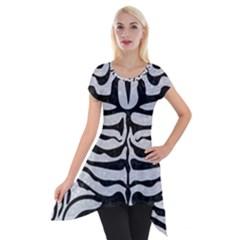 Skin2 Black Marble & Silver Glitter Short Sleeve Side Drop Tunic by trendistuff