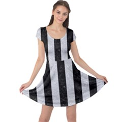 Stripes1 Black Marble & Silver Glitter Cap Sleeve Dress