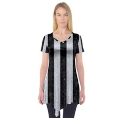 Stripes1 Black Marble & Silver Glitter Short Sleeve Tunic