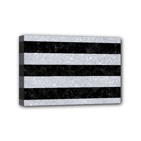 Stripes2 Black Marble & Silver Glitter Mini Canvas 6  X 4  by trendistuff