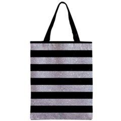 Stripes2 Black Marble & Silver Glitter Zipper Classic Tote Bag by trendistuff