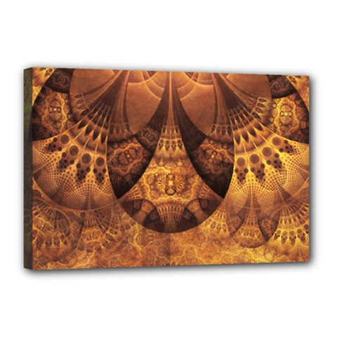 Beautiful Gold And Brown Honeycomb Fractal Beehive Canvas 18  X 12  by beautifulfractals