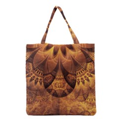 Beautiful Gold And Brown Honeycomb Fractal Beehive Grocery Tote Bag by beautifulfractals