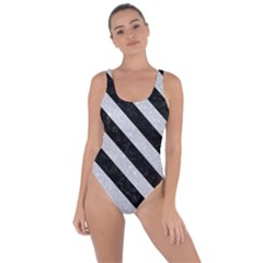 Stripes3 Black Marble & Silver Glitter Bring Sexy Back Swimsuit