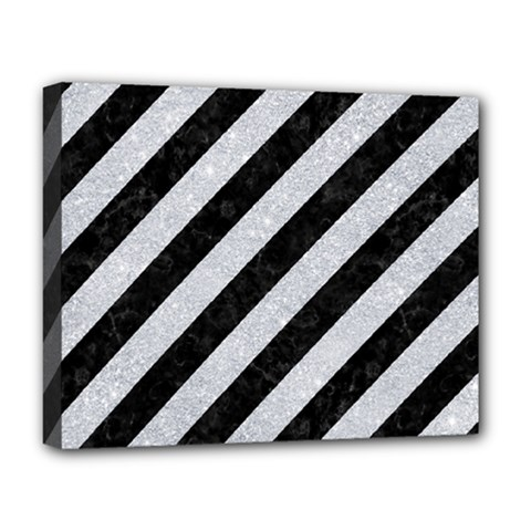 Stripes3 Black Marble & Silver Glitter (r) Deluxe Canvas 20  X 16   by trendistuff