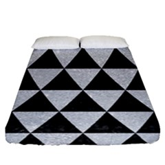 Triangle3 Black Marble & Silver Glitter Fitted Sheet (queen Size) by trendistuff
