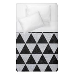 Triangle3 Black Marble & Silver Glitter Duvet Cover (single Size) by trendistuff