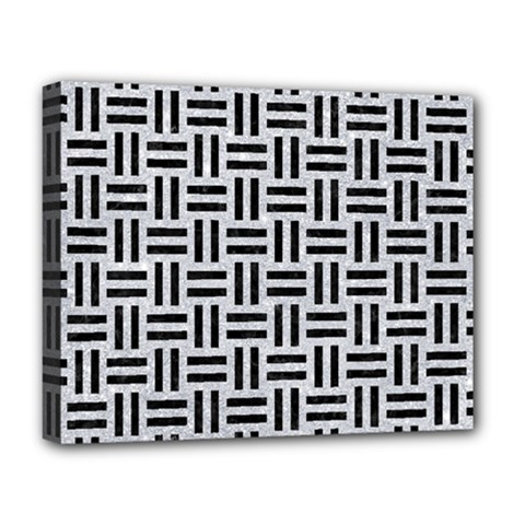 Woven1 Black Marble & Silver Glitter Deluxe Canvas 20  X 16   by trendistuff