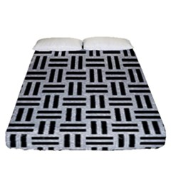 Woven1 Black Marble & Silver Glitter Fitted Sheet (queen Size) by trendistuff