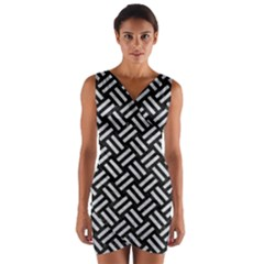 Woven2 Black Marble & Silver Glitter (r) Wrap Front Bodycon Dress