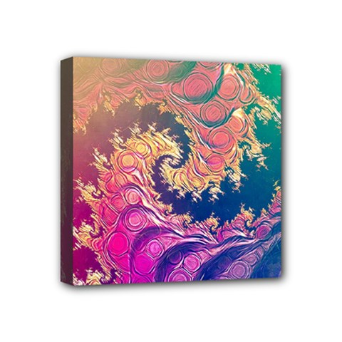 Rainbow Octopus Tentacles In A Fractal Spiral Mini Canvas 4  X 4  by jayaprime