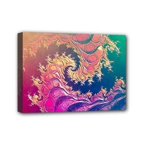 Rainbow Octopus Tentacles In A Fractal Spiral Mini Canvas 7  X 5  by jayaprime